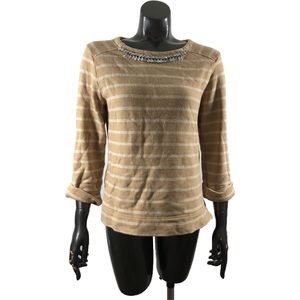 Coldwater Creek Striped Bling Bejeweled Sweater